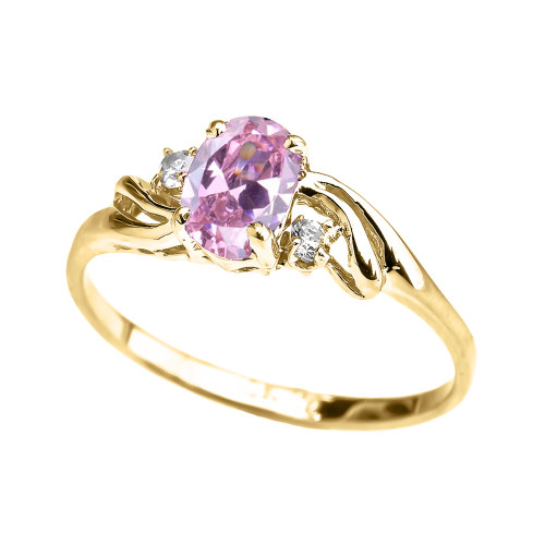 Yellow Gold CZ Pink Oval Solitaire Proposal Ring