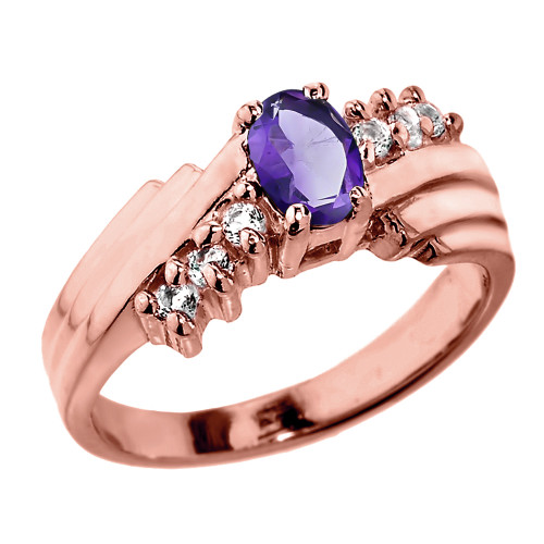 Dazzling Rose Gold Diamond and Amethyst Proposal Ring