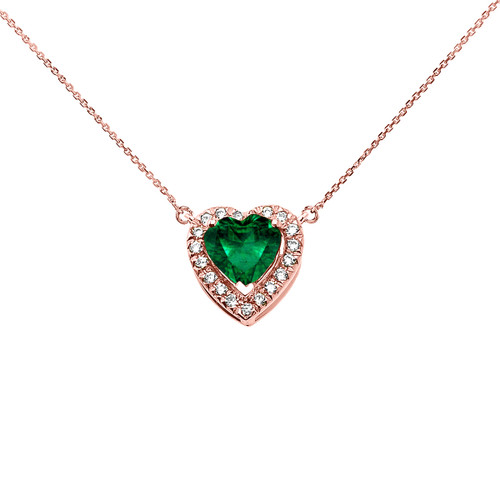 Elegant Rose Gold Diamond and May Birthstone (LCE) Emerald Heart Solitaire Necklace
