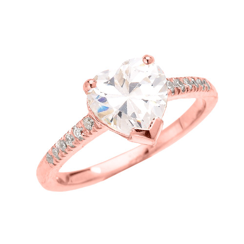 Rose Gold Dainty Diamond Engagement Ring With 3 Carat Heart Shape Cubic Zirconia Center Stone