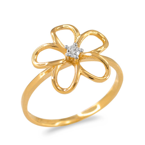 Plumeria Ring Diamond Yellow Gold with Openwork Design