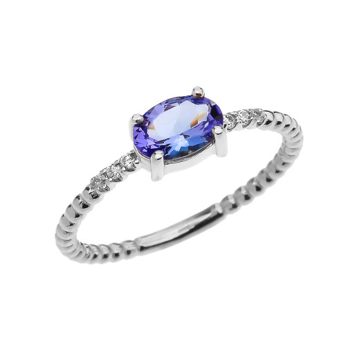 Diamond Beaded Band Ring With Tanzanite Centerstone in White Gold