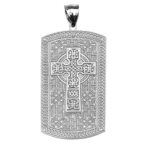 Celtic cross trinity knot engraveable white gold dog tag pendant celtic cross trinity knot white gold engraveable dog tag pendant necklace aloadofball Image collections