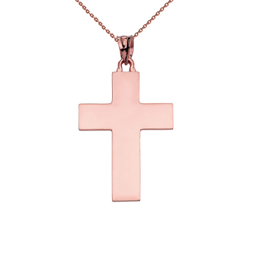 High Polish Elegant Cross Rose Gold Pendant Necklace