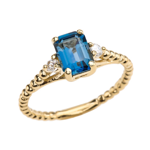 1.5 Carat London Blue Topaz Solitaire Yellow Gold Beaded Ring With White Topaz Sidestones