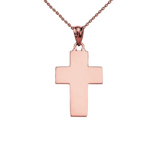 Elegant High Polish Cross Rose Gold Pendant Necklace