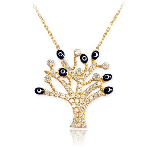 14K Gold Evil Eye CZ Pave Tree of Life Adjustable Necklace
