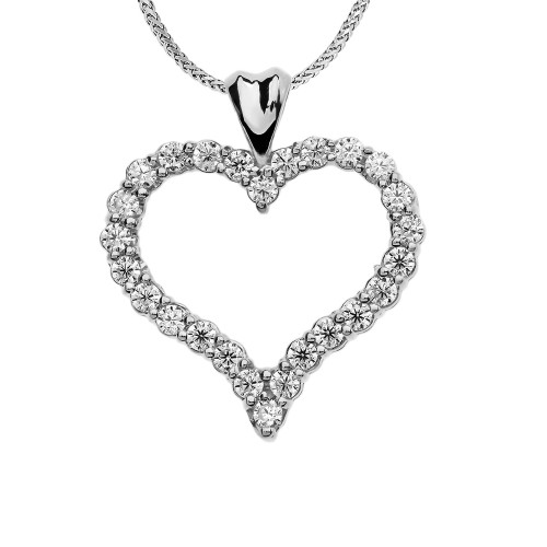 1 Carat Diamond Heart White Gold Pendant Necklace