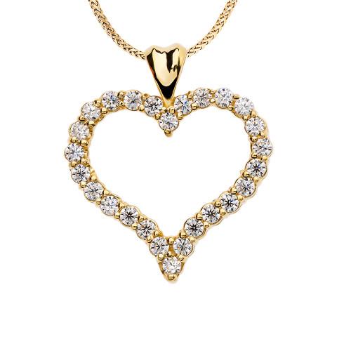 1 Carat Diamond Heart Yellow Gold Pendant Necklace