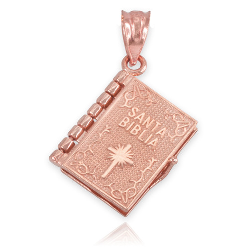 Gold 3d spanish bible pendant necklace rose gold 3d spanish bible pendant necklace mozeypictures Image collections