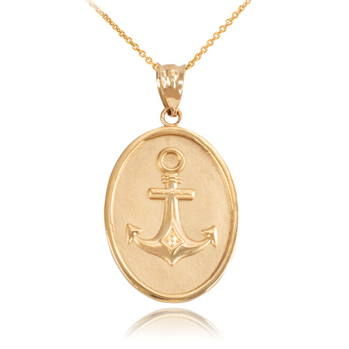 Yellow gold anchor pendant necklace aloadofball Images