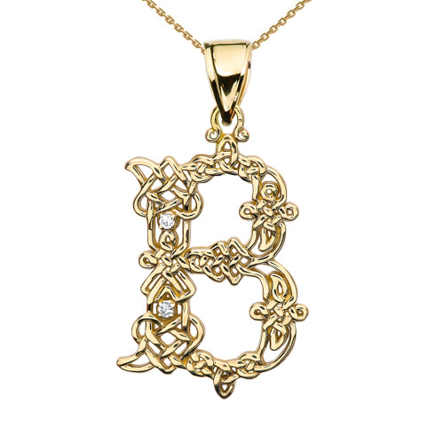 """B"" Initial In Celtic Knot Pattern Yellow Gold Pendant Necklace With Diamond"