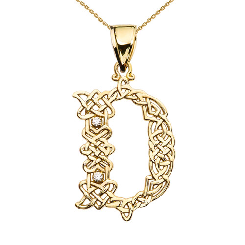 """""""D"""" Initial In Celtic Knot Pattern Yellow Gold Pendant Necklace With Diamond"""