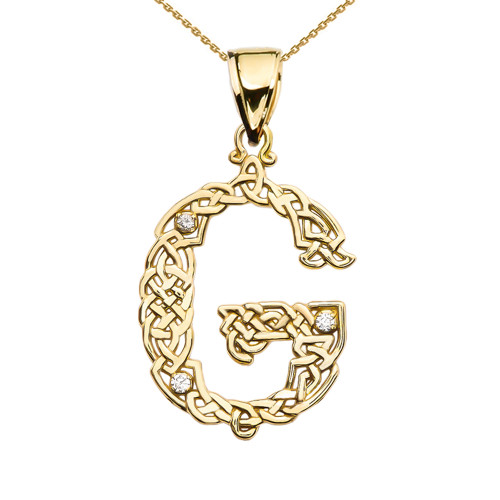 """G"" Initial In Celtic Knot Pattern Yellow Gold Pendant Necklace With Diamond"