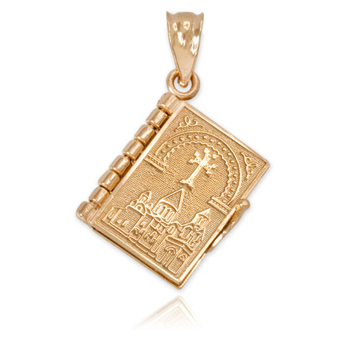 Gold 3d armenian bible pendant necklace yellow gold 3d armenian bible pendant necklace mozeypictures Image collections