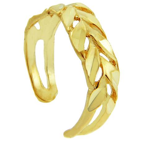 Diamond Cut Yellow gold Toe Ring