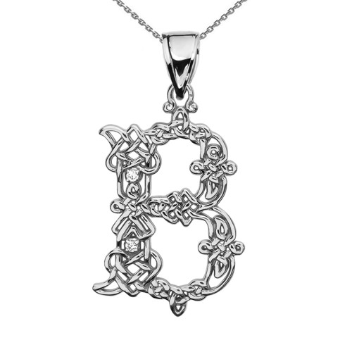 """B"" Initial In Celtic Knot Pattern Sterling Silver Pendant Necklace With CZ"