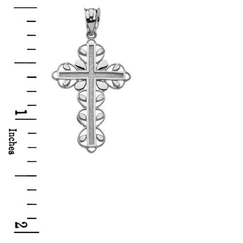 White gold cross faith hope love pendant necklace aloadofball Gallery