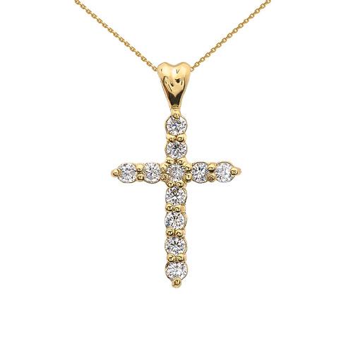 0.5 Carat Diamond Cross Elegant Yellow Gold Pendant Necklace