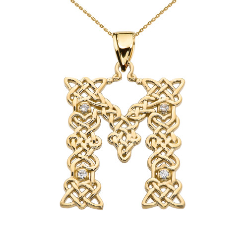 """M"" Initial In Celtic Knot Pattern Yellow Gold Pendant Necklace With Diamond"
