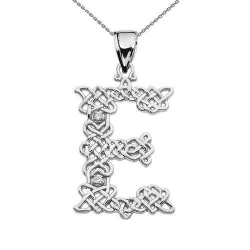 """E"" Initial In Celtic Knot Pattern Sterling Silver Pendant Necklace With CZ"