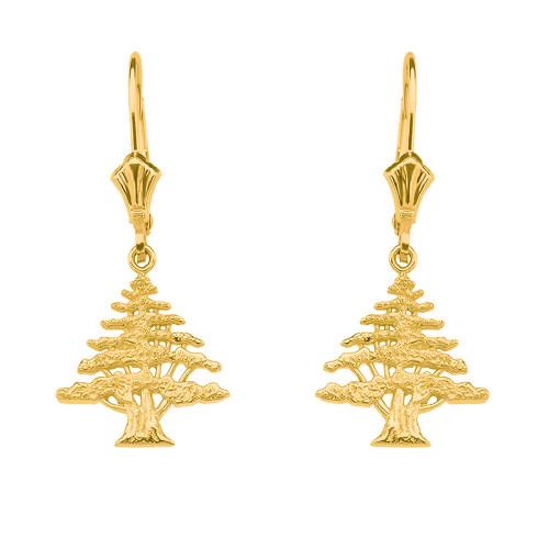 14K  Yellow Gold Lebanese Cedar Tree Earrings
