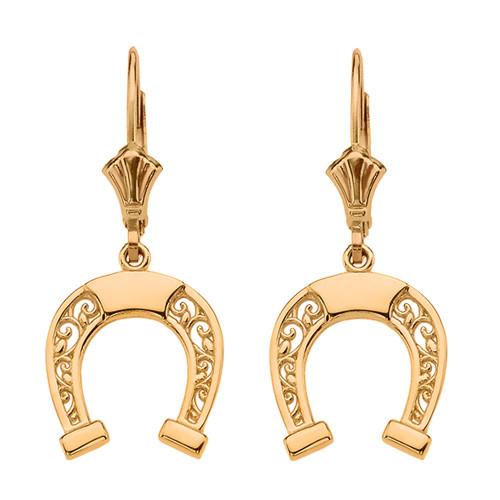 14K  Yellow Gold Filigree Horseshoe Earrings