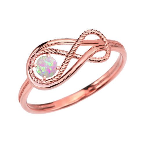 Birthstone Opal Rope Infinity Rose Gold Ring
