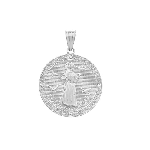 Sterling silver saint francis of assisi circle medallion cz stone sterling silver saint francis of assisi circle medallion cz stone pendant necklace small aloadofball Gallery