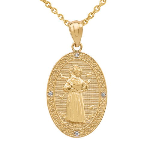 Yellow gold st francis of assisi oval medallion diamond pendant yellow gold st francis of assisi oval medallion diamond pendant necklace medium aloadofball Gallery