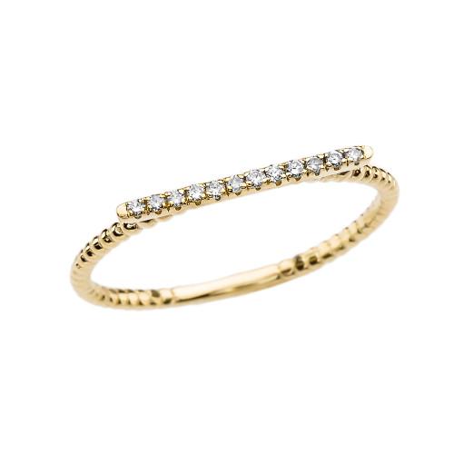 Diamond Beaded Modern Dainty Yellow Gold Ring