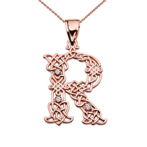 """""""R"""" Initial In Celtic Knot Pattern Rose Gold Pendant Necklace With Diamond"""