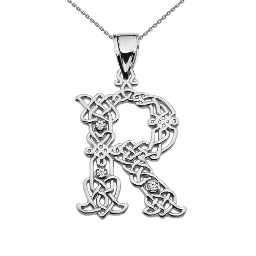 """""""R"""" Initial In Celtic Knot Pattern White Gold Pendant Necklace With Diamond"""