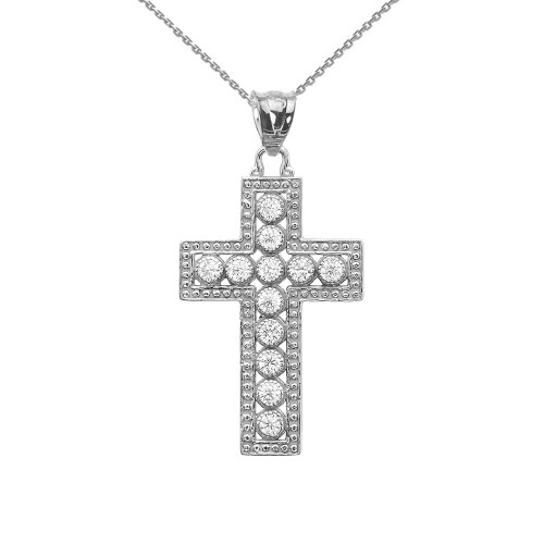 Sterling Silver Cross Pendant Necklace With Cubic Zirconia