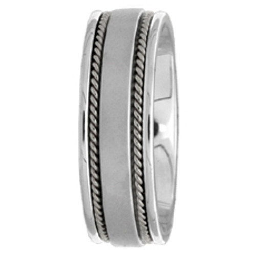 14k White Gold Wedding Band Hand-Braided