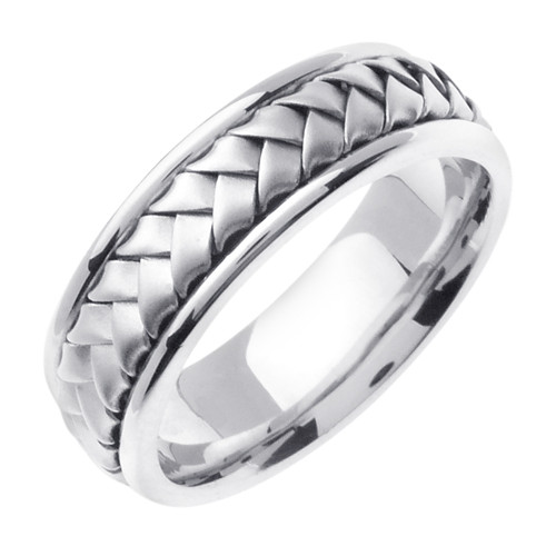 Hand Woven White Gold Wedding Band