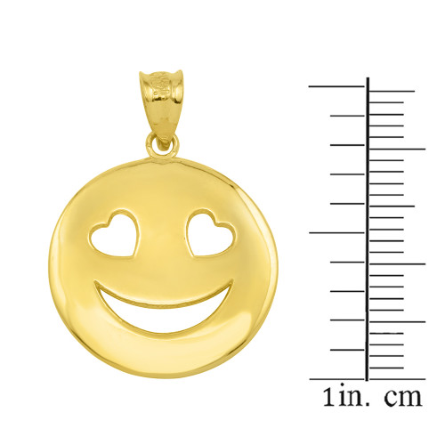 Gold heart eyes smiley face pendant necklace yellow gold heart eyes smiley face pendant necklace aloadofball Image collections