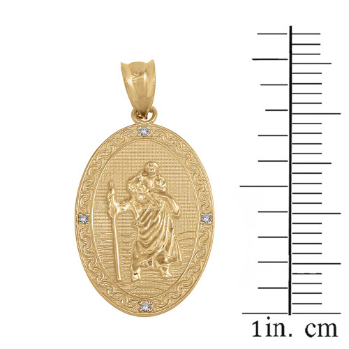 Solid yellow gold saint christopher medallion diamond pendant solid yellow gold saint christopher medallion diamond pendant necklace 1 aloadofball Choice Image