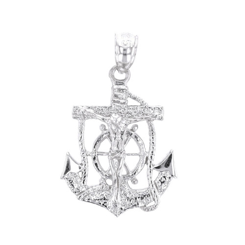 Sterling silver mariners anchor crucifix pendant necklace aloadofball Images