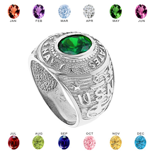 Solid White Gold United States Navy Men's CZ Birthstone Ring