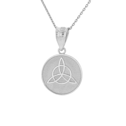 Solid White Gold Triquetra Irish Celtic Disc Circle Pendant Necklace