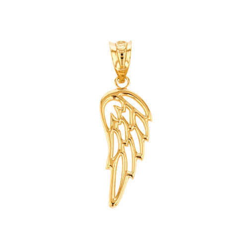 Solid yellow gold filigree guardian angel wing pendant necklace aloadofball Choice Image
