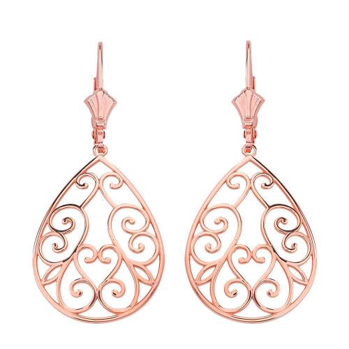 """14K Solid Rose Gold Filigree Swirl Heart Teardrop Drop Earring Set 1.71"""" (43 mm)"""