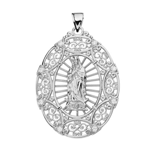 White gold our lady of guadalupe pendant necklace mozeypictures Choice Image