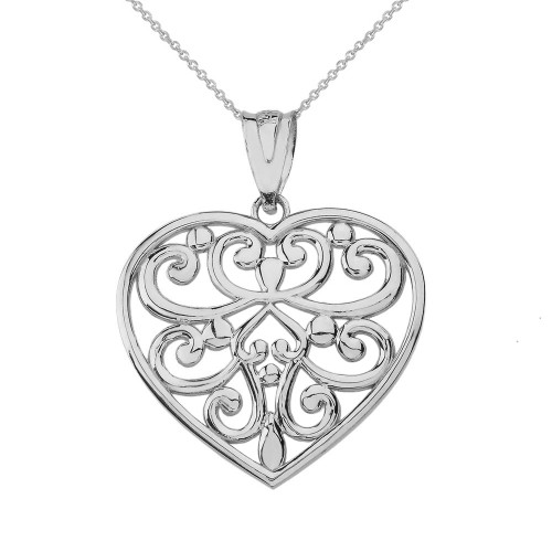 Silver filigree heart pendant necklace sterling silver filigree heart pendant necklace mozeypictures Choice Image