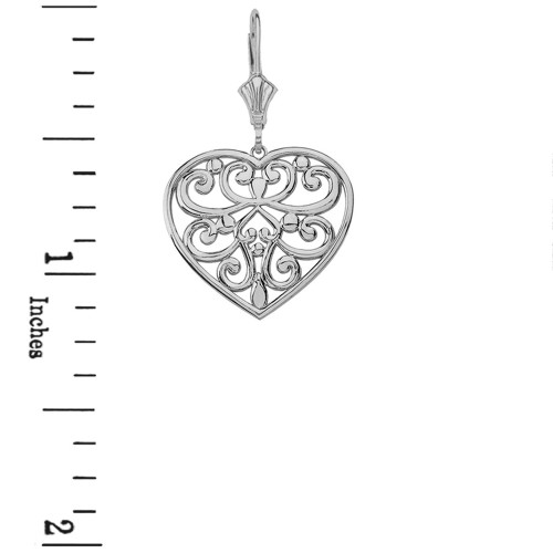 Sterling silver filigree heart necklace earring set mozeypictures Image collections