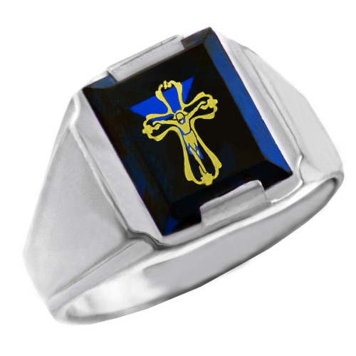 Solid White Gold Blue CZ Stone Crucifix Signet Men's Ring