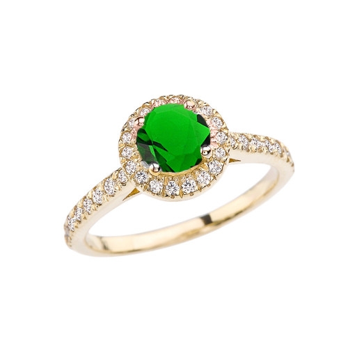 Yellow Gold Diamond and Emerald (LCE) Engagement/Proposal Ring