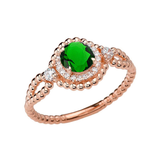 Diamond Engagement Ring Rose  Gold Rope Double Infinity Center Emerald (LCE)