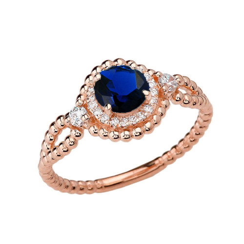 Diamond Engagement Ring Rose Gold Rope Double Infinity Center Sapphire (LCS)